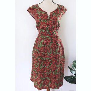 Modcloth Retrolicious Feather Swirls Pattern Dress